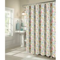 M Style Scattered Florals Shower Curtain in Coral