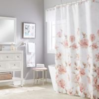 Misty Floral Shower Curtain in Pink