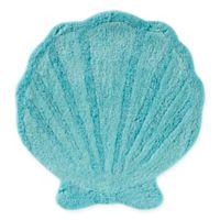 """South Seas Shell 24"""" x 25"""" Bath Rug in Aqua"""