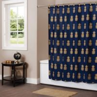 Gilded Pineapple Shower Curtain in Blue