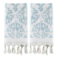 Mirage Fringe Hand Towels in Aqua (Set of 2)