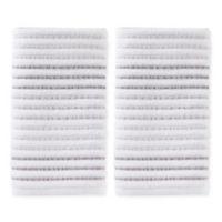 Tie Dye Stripe Hand Towels in Grey (Set of 2)
