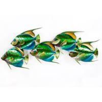 Queen Angelfish School of 5 Metal Wall Sculpture