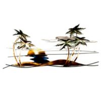 Swaying Tropical Palm Scene Metal Wall Sculpture