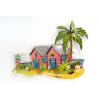 Beach Bungalows Metal Wall Sculpture in Coral