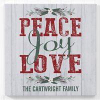 Peace, Joy, Love 12-Inch Square Personalized Canvas Print