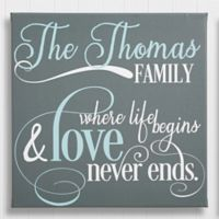 Personalized Family Quote 24-Inch Square Canvas