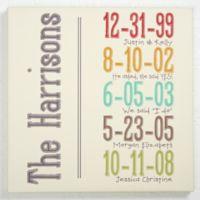 Milestone Dates 20-Inch Square Personalized Canvas Print