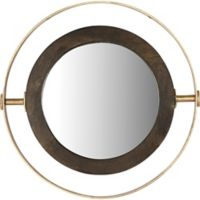 Kyndal Framed 24-Inch Oval Wall Mirror in Brass/Black