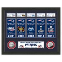 NFL New England Patriots Super Bowl Champions Banners and Commemorative Coin Framed Wall Art