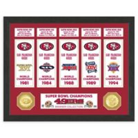 NFL San Francisco 49ers Super Bowl Champions Banners and Commemorative Coin Framed Wall Art
