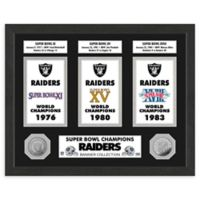 NFL Oakland Raiders Super Bowl Champions Banners and Commemorative Coin Framed Wall Art