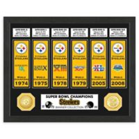 NFL Pittsburgh Steelers Super Bowl Champions Banners and Commemorative Coin Framed Wall Art