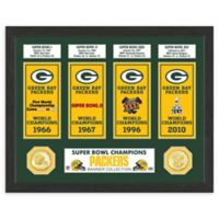 NFL Green Bay Packers Super Bowl Champions Banners and Commemorative Coin Framed Wall Art