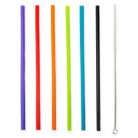 Manna™ 7-Piece Multicolor Silicone Straws and Straw Brush Set
