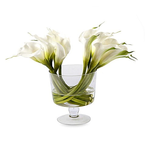 Faux Calla Lilies In 14 Inch Glass Cup Vase Bed Bath Beyond
