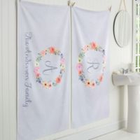 Floral Wreath Personalized Bath Towel