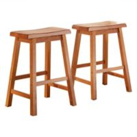 Verona Home Calera Saddle Counter Stools in Oak (Set of 2)