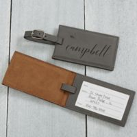 Wedded Bliss Personalized Luggage Tag in Charcoal
