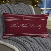 Holiday Wreath 12-Inch x 22-Inch Personalized Lumbar Pillow