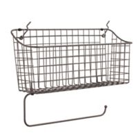 Spectrum™ Pegboard Basket with Paper Towel Holder in Grey