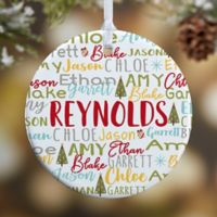 1-Sided Glossy Whimsical Winter Family Personalized Ornament- Small