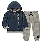 Calvin Klein Size 0-3M 2-Piece Hooded Sweatshirt and Pants Set in Navy