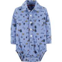 OshKosh B'Gosh® Size 6-9M Chambray Print Bodysuit in Blue