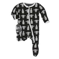 KicKee Pants® Size 3-6M Zebra Tuscan Cow Footie in Black