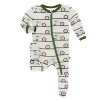 KicKee Pants® Newborn Tractor in Grass Footie in Ivory