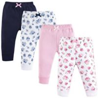 Luvable Friends® Size 6-9M 4-Pack Floral Ankle Pants in Pink