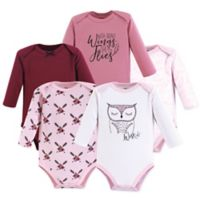 Yoga Sprout Size 6-9M 5-Pack Owl Long Sleeve Bodysuits in Pink