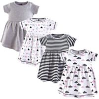 Hudson Baby® Size 4T Stars & Clouds 4-Pack Dresses in Black