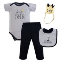 Hudson Baby® 4-Piece Wild One First Birthday Bodysuit, Pant, Bib, and Hat Set