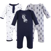 Yoga Sprout Size 0-3M 3-Pack Spaceship Union Suit in Blue