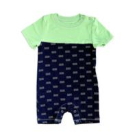 Silkberry Baby® Size 0-3M Waves Short Sleeve Romper in Navy/Mint