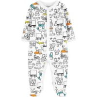 carter's® Size 9M Trucks Footed Pajama in White