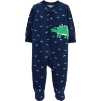 carter's® Size 6M Zip-Front Dinosaur Sleep & Play Footie in Navy
