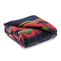 Beacon Hombre Navajo-Inspired Reversible Twin Blanket in Red/Blue