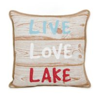 Live Love Lake Square Throw Pillow in Natural