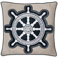 Envogue Captains Wheel Throw Pillow in Navy