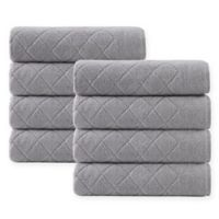 Enchante Home® Gracious 8-Piece Turkish Cotton Hand Towel Set in Silver