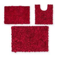 Bellflower 3-Piece Bath Mat Set in Red