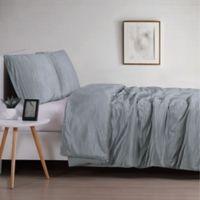 Christian Sirano Crinkle Velvet King Comforter Set in Platinum