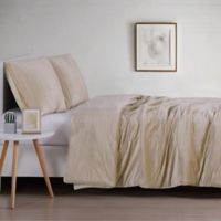 Christian Sirano Crinkle Velvet King Duvet Cover Set in Champagne