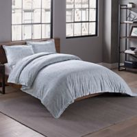 Garment Washed Printed King Duvet Cover Set in Chambray Link