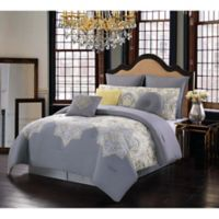 Melania Reversible 10-Piece Queen Comforter Set in Yellow/Grey