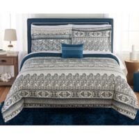 Beco Home Tibet 8-Piece Full Comforter Set in Navy/Grey