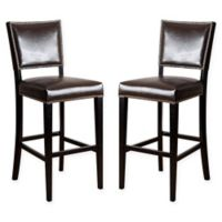 Darcy Leather Bar Stools in Brown (Set of 2)