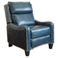 Abbyson Living Ren Top Grain Leather Pushback Recliner in Navy